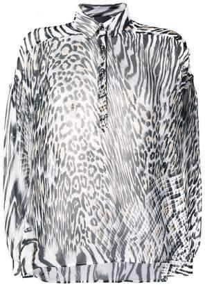 Just Cavalli animal print sheer shirt