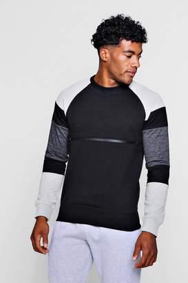 boohoo Colour Block Zip Chest Crew Neck Sweater