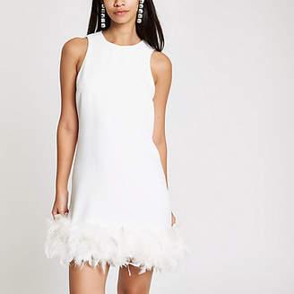 River Island White feather trim swing dress