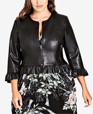 City Chic Trendy Plus Size Ruffled Cropped Faux-Leather Jacket