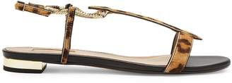 Aquazzura Vogue leopard-print calf-hair sandals