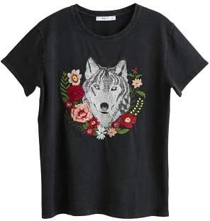 MANGO Decorative embroidery t-shirt