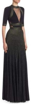 Elie Saab Metallic Knit Illusion Dress