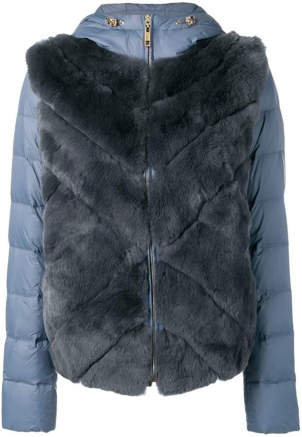 Liska rabbit fur padded hooded jacket