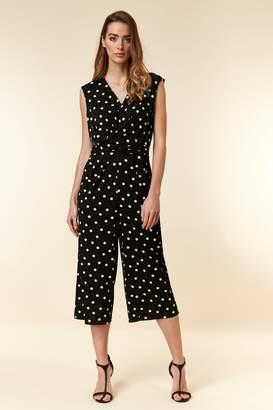 90e2bc94fee WallisWallis Black Polka Dot Print Wrap Jumpsuit