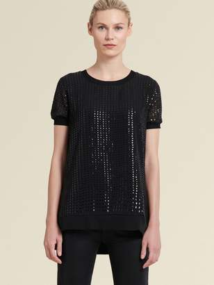 DKNY Sequined Top With Step Hem