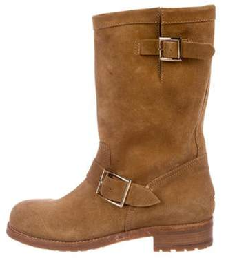 Jimmy Choo Suede Round-Toe Boots Tan Suede Round-Toe Boots