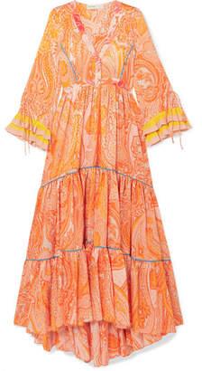 Etro Tiered Printed Silk Crepe De Chine Gown - Orange