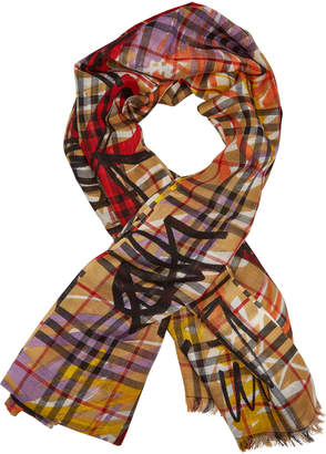 Burberry Vintage Check Printed Scarf in Wool and Silk