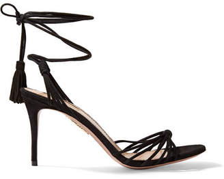 Aquazzura Mescal 85 Suede Sandals - Black