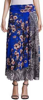 Fuzzi Women's Vintage Floral Patch Maxi Skirt