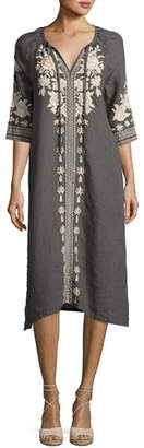Johnny Was JWLA by Plus Size Carmelita Embroidered Linen Peasant Dress, Voltage