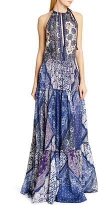 Polo Ralph Lauren Pattern Mix Keyhole Neck Sleeveless Maxi Dress