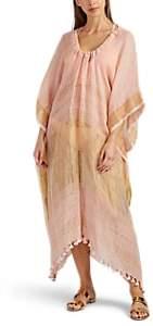 Two Women's Striped Linen Drawstring Caftan - Pink