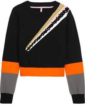 Wili Embellished Striped Cotton-Blend Jersey Sweatshirt