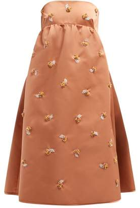 Rochas Floral Sequinned Satin Dress - Womens - Pink Multi