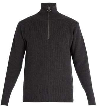 Barena Venezia - Half Zip Ribbed Knit Wool Sweater - Mens - Grey