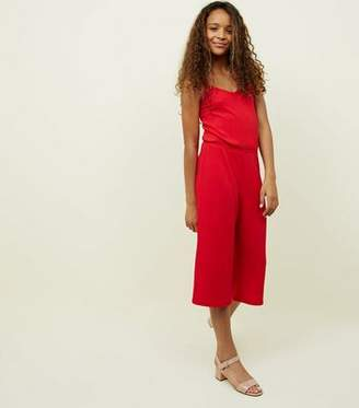 New Look Girls Red Ribbed Strappy Jumpsuit