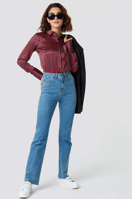 Emilie Briting X Na Kd Raw Edge Jeans Blue Denim