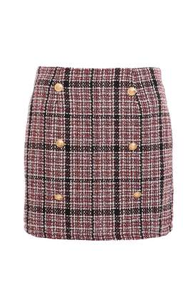 Quiz Red And Cream Tweed Gold Button Mini Skirt
