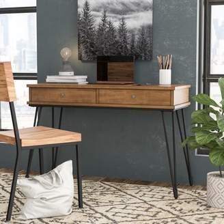 Williston Forge Nikolai Metal and Distressed Wood Writing Desk