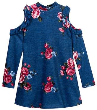 Trixxi Cold Shoulder Ruffled Sleeve Dress (Big Girls)