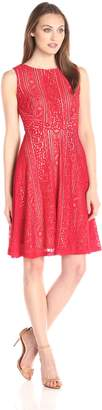 Sangria Women's Sleeveless Lace Fit and Flare Dress