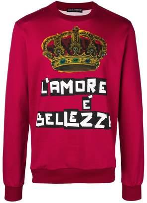 Dolce & Gabbana L'Amore crown print sweatshirt