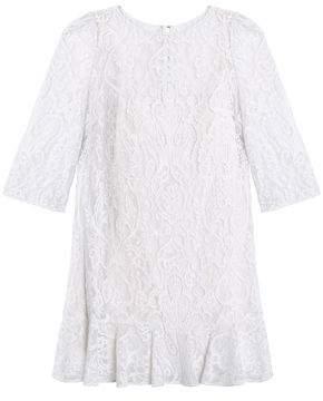 Dolce & Gabbana Ruffle-Trimmed Corded Lace Mini Dress