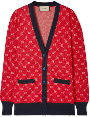 Gucci Intarsia Wool And Alpaca-blend Cardigan - Red