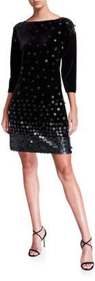 Joan Vass Sequin Front Boat-Neck 3/4-Sleeve Velvet Dress