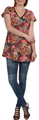 24/7 Comfort Apparel Women's Coco Pink Multicolor Tunic Top