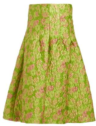 Isa Arfen Sculpted Floral Brocade Midi Skirt - Womens - Green Multi