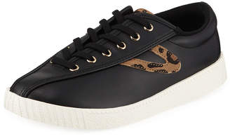 Tretorn Leopard Low-Top Leather Sneakers