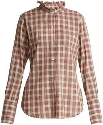Nili Lotan Nola ruffle-collar plaid cotton shirt