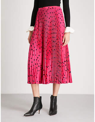 Valentino Heart-print pleated silk-crepe skirt