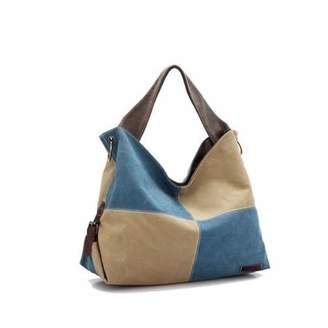 vistashops Fair and Square Two Tone Journey Canvas Shoulder Bag with FREE RFID Card Protector Wallet