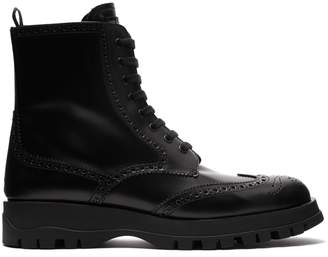 Prada Lace-up leather brogue ankle boots