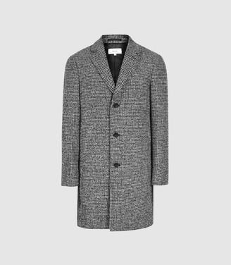 Reiss Kennard - Dogtooth Longline Overcoat in Grey