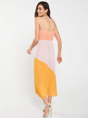 Warehouse Pleated Colourblock Dress