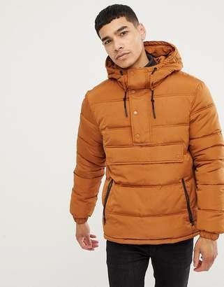 Esprit half zip overhead hooded puffer jacket