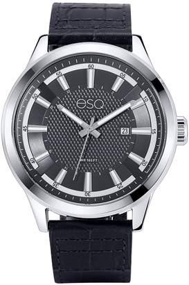 ESQ Swiss Men's Stainless Steel Watch, Black Dial, Leather Band