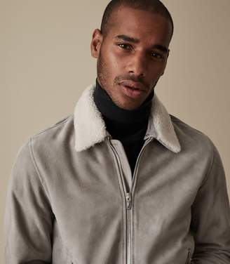 Reiss Our last order date for Christmas has now passed RIVER SUEDE BOMBER WITH DETACHABLE COLLAR Stone