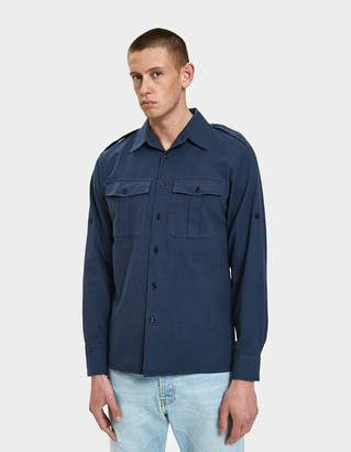Dries Van Noten Twill Shirt in Navy