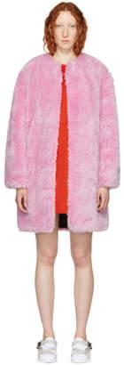 MSGM Pink Faux-Fur Coat
