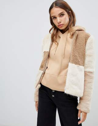 Only faux fur patched cropped coat