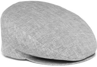 Borsalino Herringbone Linen Flat Cap