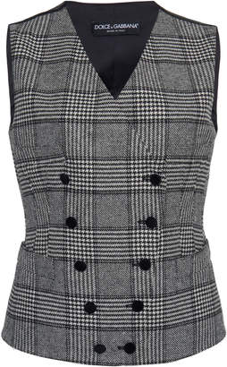 Dolce & Gabbana Checked Double-Breasted Wool Vest