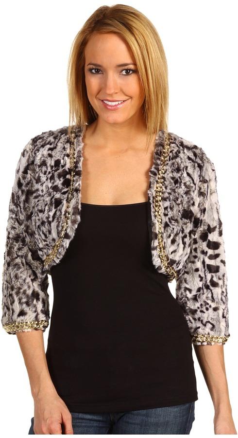 Betsey Johnson Animal Fur Jacket (Black) - Apparel