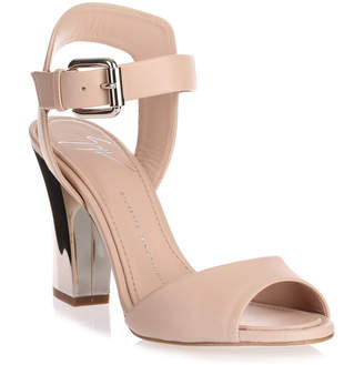 Giuseppe Zanotti Nude leather mirror heel sandal